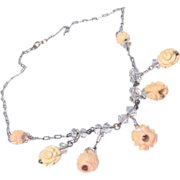 1930's  Hand Carved Wooden Floral Motif Sterling Silver Necklace