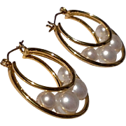 Vintage Gold Tone Metal Faux Pearl Hoop Earrings