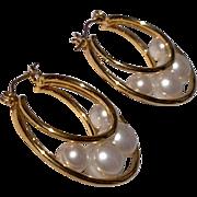 Vintage Gold Tone Metal Faux Pearl Hoop Earrings
