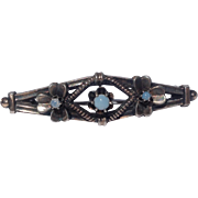 Vintage Sterling Silver Shamrock Motif Opal Brooch