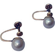 Vintage 14K Gold Genuine Pearl Earring