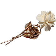 Vintage WINARD 12 K Gold Filled Bone Flower Brooch