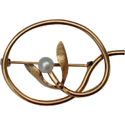 Van Dell 12 K Gold Filled Faux Pearl Brooch