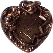 Antique Edwardian 14 K Gold Repousse Heart Pendant