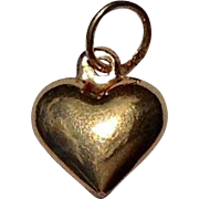 Vintage 14 K Gold Puffy Heart Charm Pendant