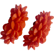 Vintage Faux Coral Earrings