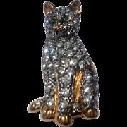 Vintage Carolee Gold Tone Metal  Rhinestone Cat Brooch