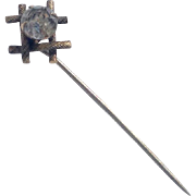 Vintage Two Tone Metal Sparkling Faceted Paste Stick Pin