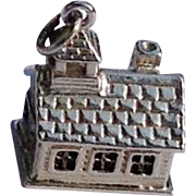 Vintage Sterling Silver Log Cabin School