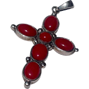 Vintage Sterling Silver Faux Red Coral Cross Pendant