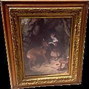 Antique Victorian Gold Leaf Gesso Oak Picture Frame