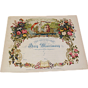 Beautiful 1871 Victorian Chromolithograph Bible Certificate Of Marriage Page