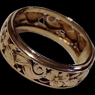 Vintage 14 K Gold Ornate Wedding  Band