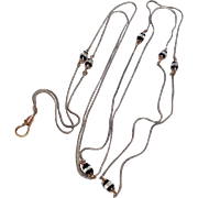 Victorian Silvertone Metal & Gold Filled Muff Lorgnette Or Sautoir Chain