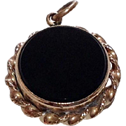 Vintage Gold Filled Black Onyx Compass Fob