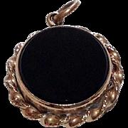 Vintage Gold Filled Black Onyx Compass Fob