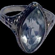 Art Deco 18 K White Gold Aquamarine Filigree Ring