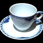 Vintage Royal Copenhagen Blue & White Demi Tasse Cup & Saucer
