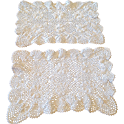 Vintage Set Of Two Crochet Lace Doilies