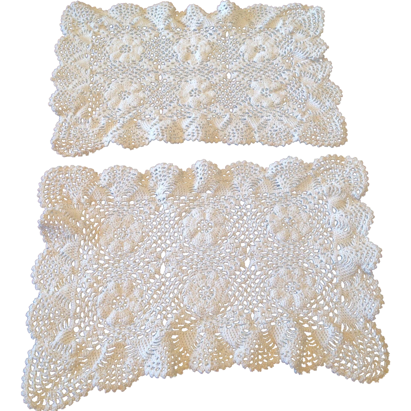 Vintage Set Of Two Crochet Lace Doilies From