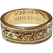 Vintage Hand Chased 14 K Gold Filled Band