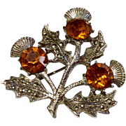 Vintage Silver Tone Scottish Marcasite Amber  Rhinestone Thistle Brooch