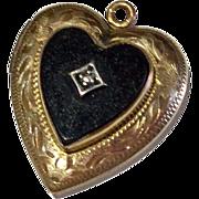Vintage Gold Filled Faux Black Onyx Heart Locket