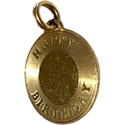 Vintage Gold Filled Happy Birthday Disk Charm