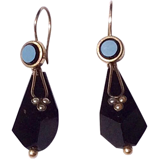 Antique Victorian Black Onyx Pearl Gold  & Gold Filled Day/Night Dangle Earrings