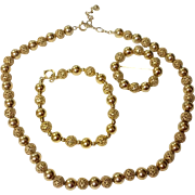 Vintage 12 K Gold Filled Bead 3 Piece Parure Necklace Bracelet & Brooch Set