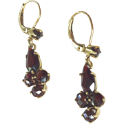 Vintage Gold Filled  Garnet Dangle Earrings