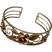 Art Deco Two Tone Gold Floral Cuff Bracelet