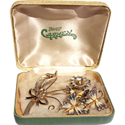Vintage Sterling Silver Gold Wash Enamel Butterfly Earrings & Brooch Set