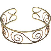 Art Deco Two Tone Gold Filled Cuff Bracelet