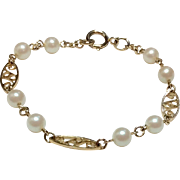 Vintage Gold Filled Cultured Pearl Bracelet