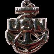 Vintage Sterling Silver USN Charm