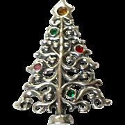 Vintage Sterling Silver Rhinestone Brooch Or Pendant