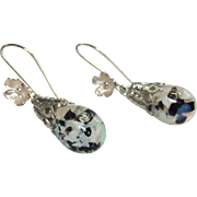 Vintage Captive Opal With Onyx Sterling Silver Dangle Earrings