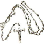 Vintage Creed Sterling Silver Ribbed Bead Catholic Rosary