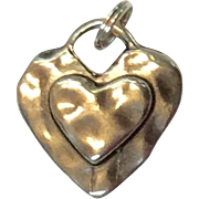 Vintage Sterling Silver Heart Pendant Charm