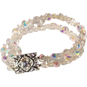 Double Strand A B Crystal Bracelet With Rhinestone Clasp