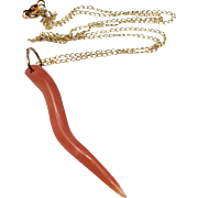Italian 14 K Gold Chain Coral Como Horn Pendant Red Pepper Necklace
