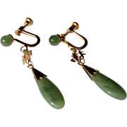 Vintage Chinese Gold Filled Jade Dangle Earrings
