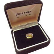 Vintage Pierre Cardin Gold Tone Metal Tie Tack In Original Box