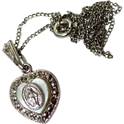 Vintage Sterling Silver MOP Marcasite Miraculous Medal Necklace
