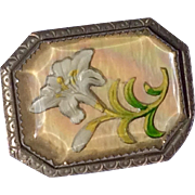 Vintage 1940's Reverse Carved Goofus Glass Flower Brooch