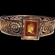 Vintage Gold Filled Intaglio Cameo Bracelet