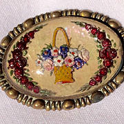 Vintage 1940's Reverse Carved Intaglio Googus Glass Flower Basket Brooch