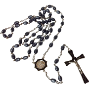 Vintage Sterling Silver Black Enamel Catholic Art Deco Rosary