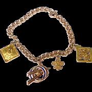 Vintage 10 K Gold Filled Cub Scout Charm Bracelet